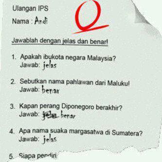Jawaban benar salah ulangan IPS